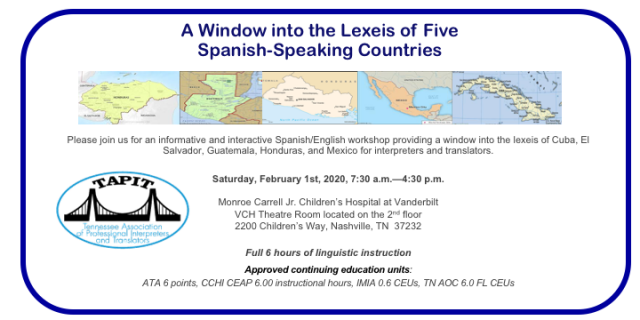 A Window into the Lexeis of Five Countries — TAPIT 2020 Winter Workshop